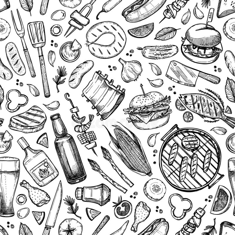 Hand drawn vector seamless pattern. BBQ. Barbeque design element vector illustration