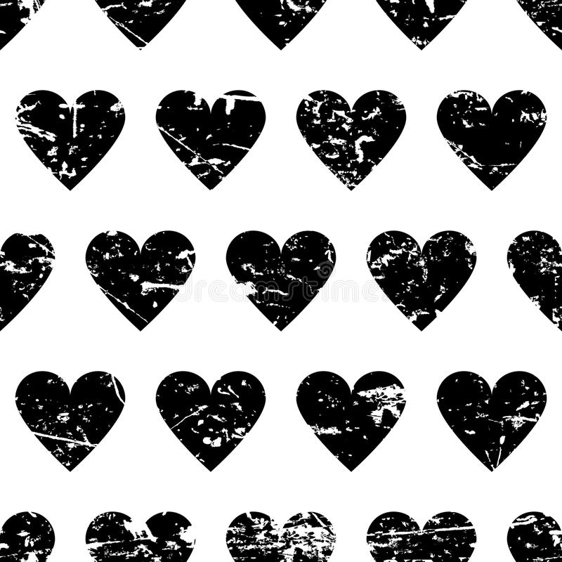Hand drawn vector seamless pattern with black hearts on stock illustration