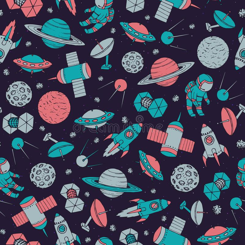 Hand drawn vector seamless pattern with cosmonauts, satelites, r. Ockets, planets, moon, falling stars and UFO contours. Colorful cosmic ornament on the starry royalty free illustration