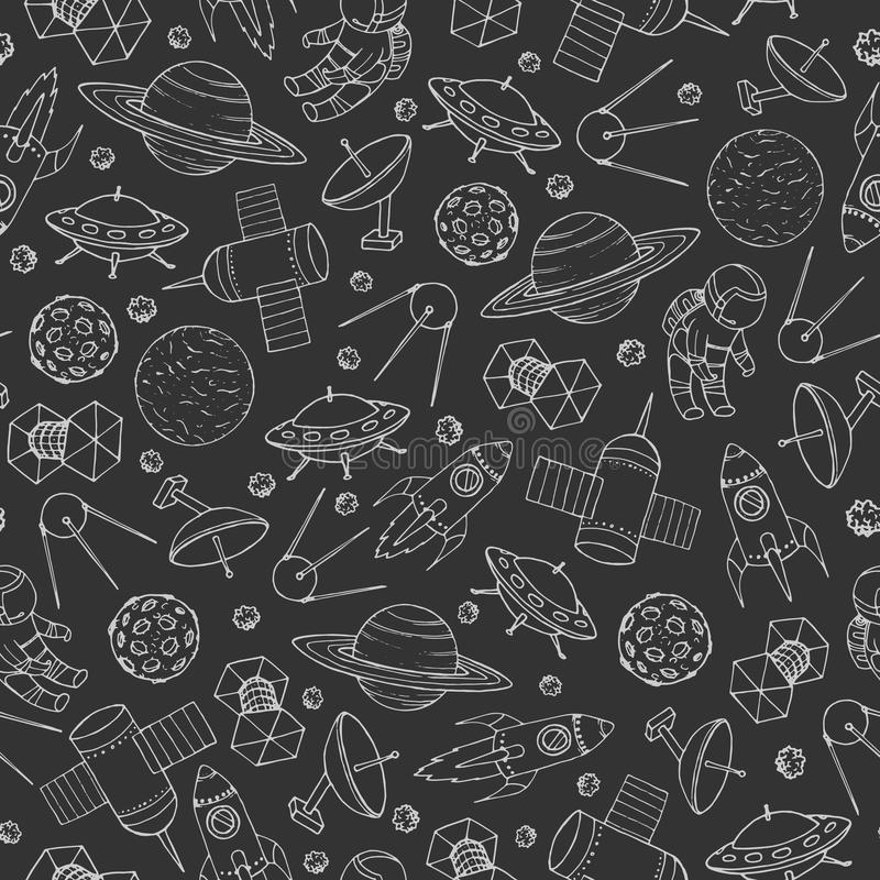 Hand drawn vector seamless pattern with cosmonauts, satelites. Rockets, planets, moon, falling stars and UFO contours. Cosmic background for education and royalty free illustration