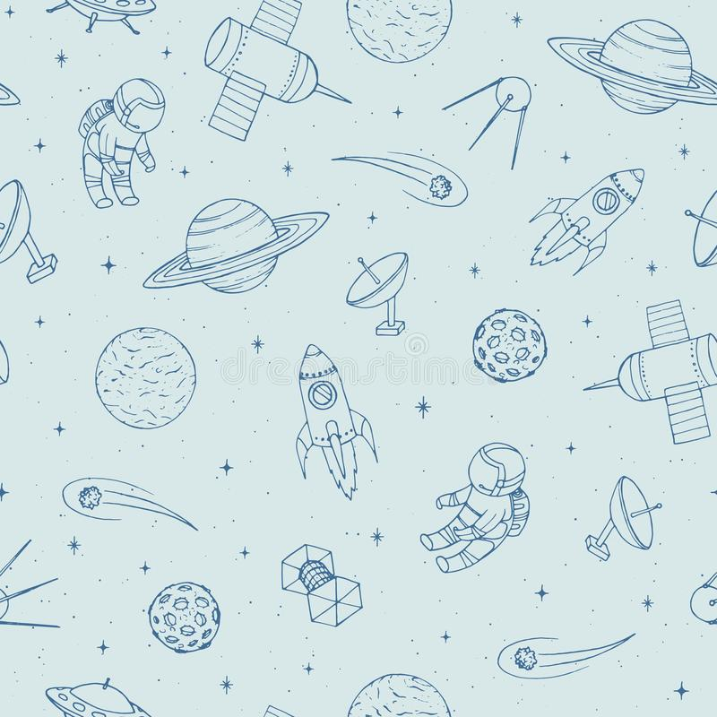 Hand drawn vector seamless pattern with cosmonauts, satelites, rockets, planets, moon, falling stars and UFO. Cosmic ornament on the light background royalty free illustration