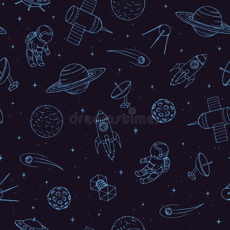 Hand drawn vector seamless pattern with cosmonauts, satelites, rockets, planets, moon, falling stars and UFO. Cosmic ornament on the dark background vector illustration