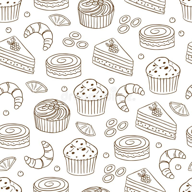 Seamless pattern with different types of cakes vector illustration