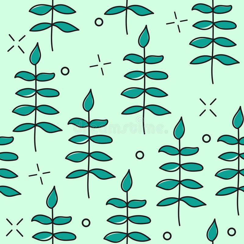 Hand drawn vector seamless pattern with floral elements. pattern - leaves, twigs stock illustration