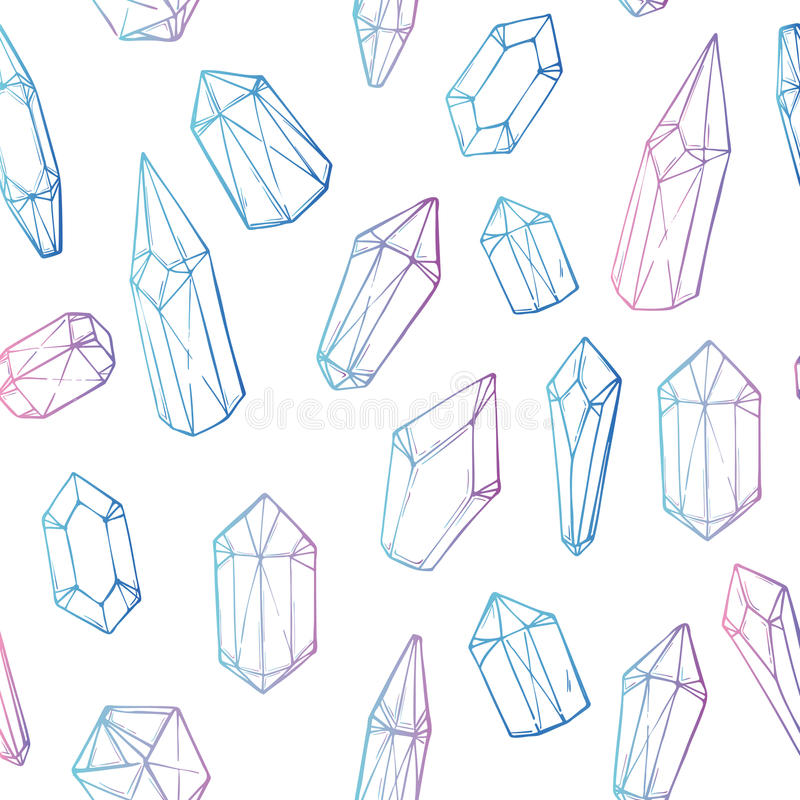 Hand drawn vector. Seamless pattern with geometric crystals royalty free illustration