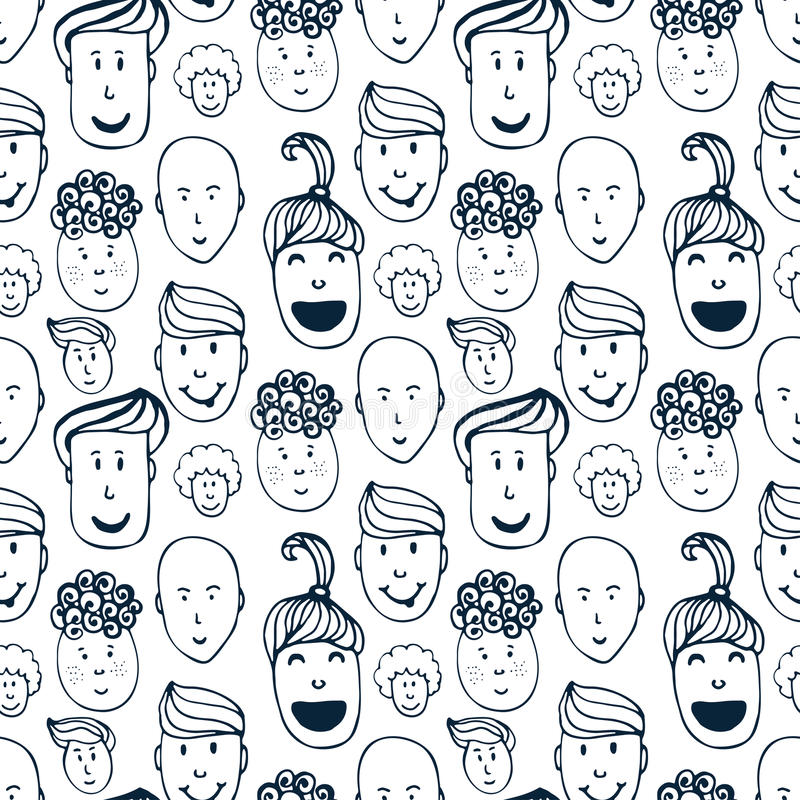 Hand drawn vector seamless pattern with illustration of group of men and women. Crowd of funny peoples background. royalty free illustration