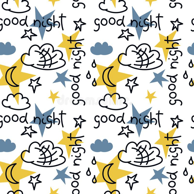 Hand drawn vector seamless pattern. The inscription Good night, clouds, stars, moon. White background royalty free illustration