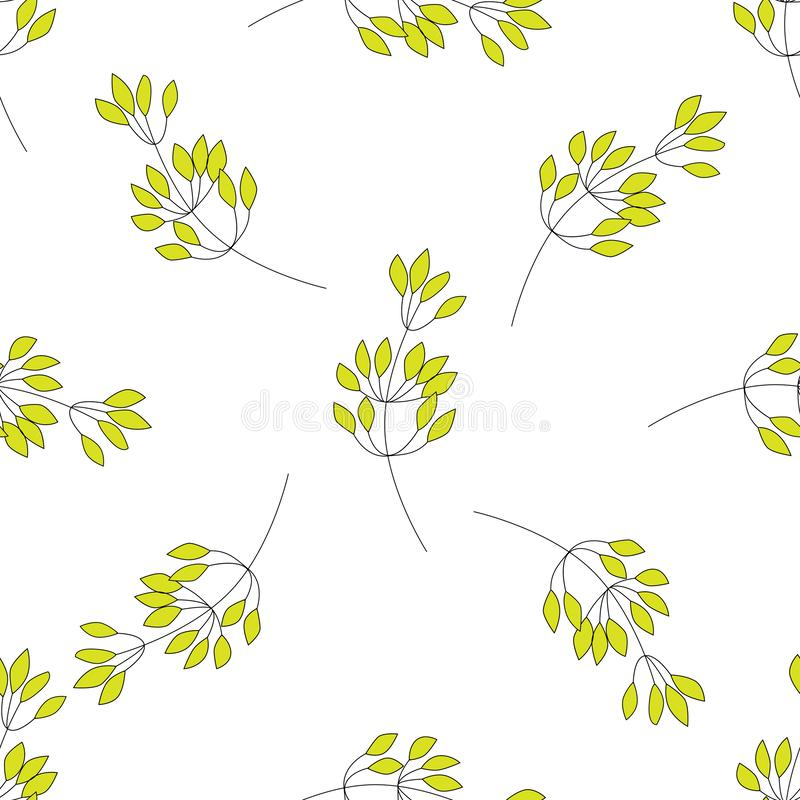 Hand drawn vector seamless pattern with leaves and branches. Can be used for fabrics, wallpapers, scrap-booking, ornamental. Template for design and decoration vector illustration