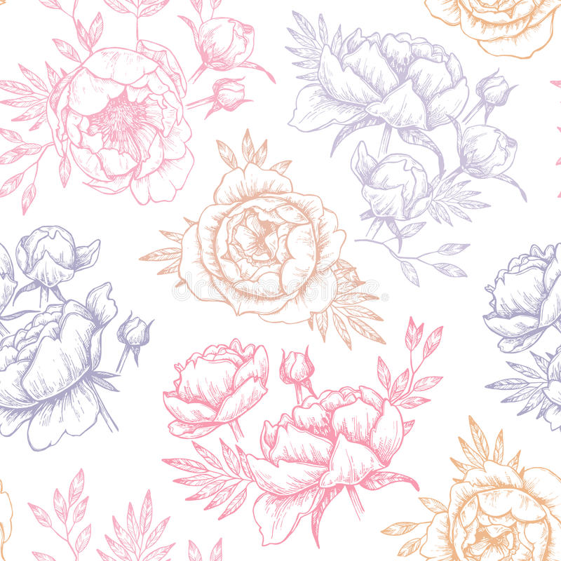 Hand drawn vector seamless pattern with peonies (flowers, leaves stock illustration