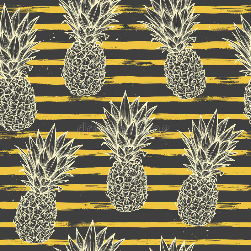 Hand drawn vector seamless pattern - Pineapple with striped back stock illustration