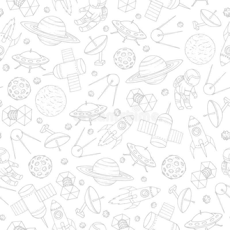 Hand drawn vector seamless pattern with space elements contours. Hand drawn vector seamless pattern with cosmonauts, satelites, rockets, planets, moon, falling vector illustration