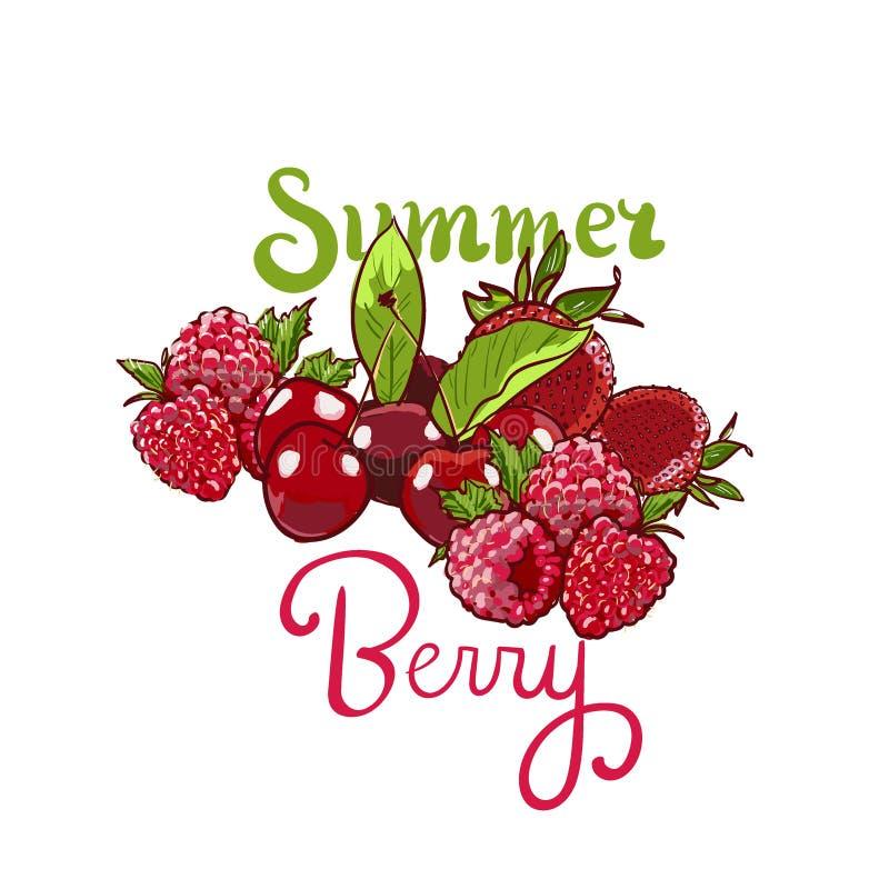 Hand drawn vector set Letterig summer berry colorful marker illustration. Berries engraving doodle sketch etch line royalty free illustration