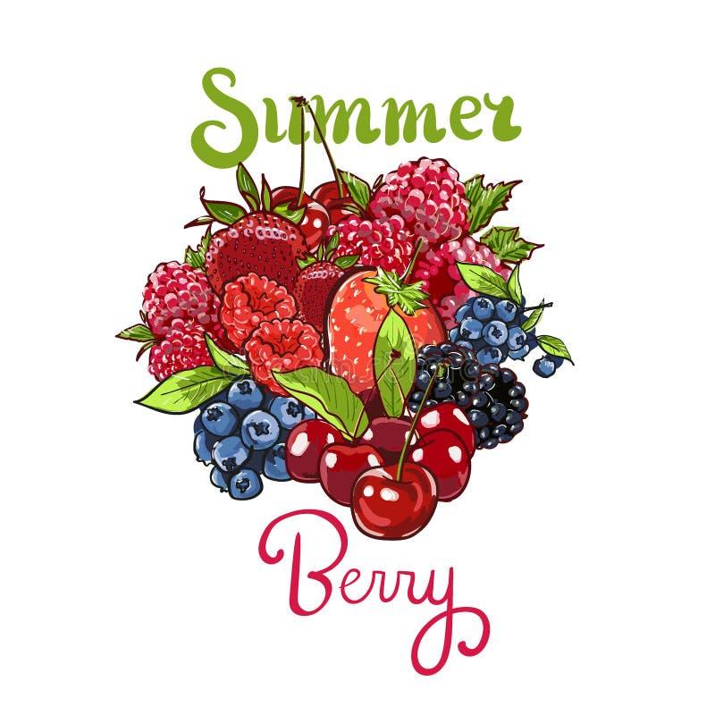 Hand drawn vector set Letterig summer berry colorful marker illustration. Berries engraving doodle sketch etch line stock illustration
