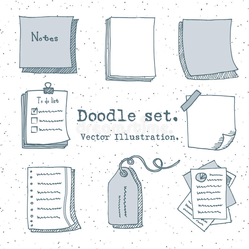 Hand drawn vector set of paper sheet, pack of paper, tag, sticky note, notepad page with pin, scotch tape and paperclip. Doodle st stock illustration