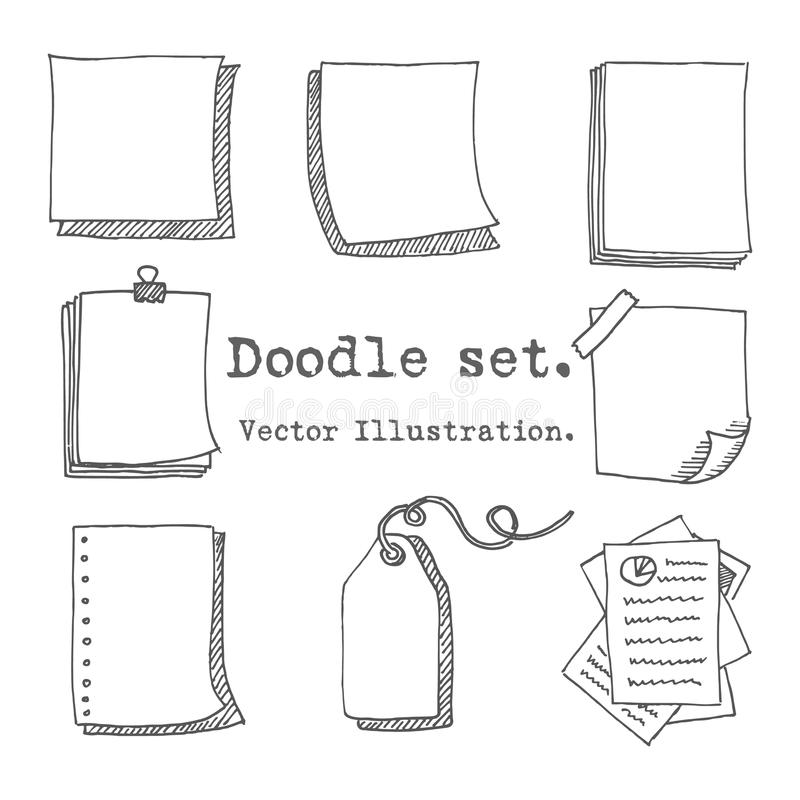Hand drawn vector set of paper sheet, pack of paper, tag, sticky note, notepad page with pin, scotch tape and paperclip. Doodle st royalty free illustration
