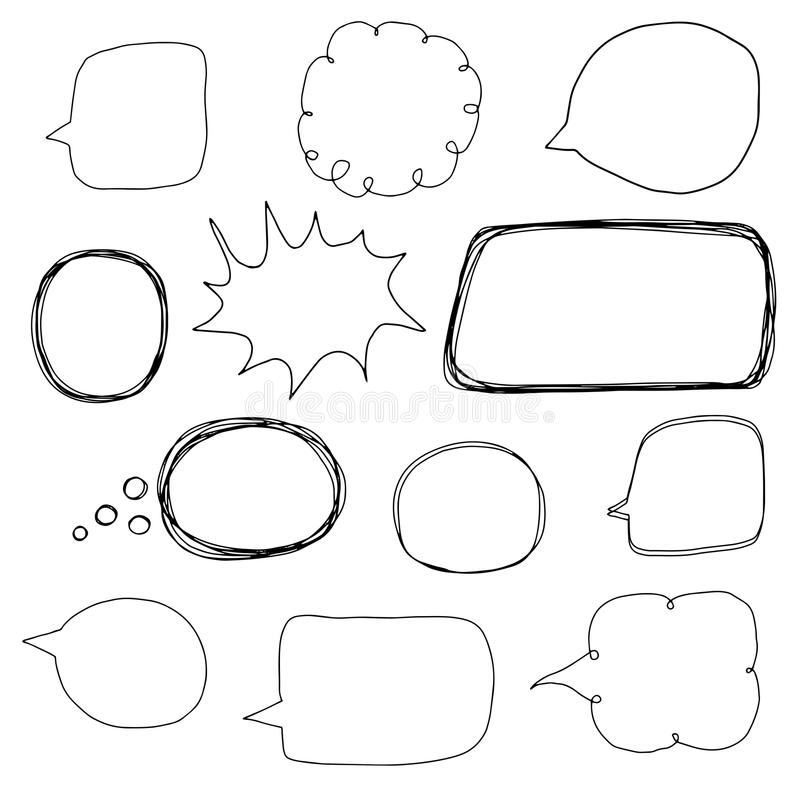 Hand drawn vector set with speech bubble outlines stock illustration