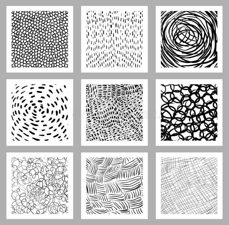 Hand drawn vector set with square cards vector illustration