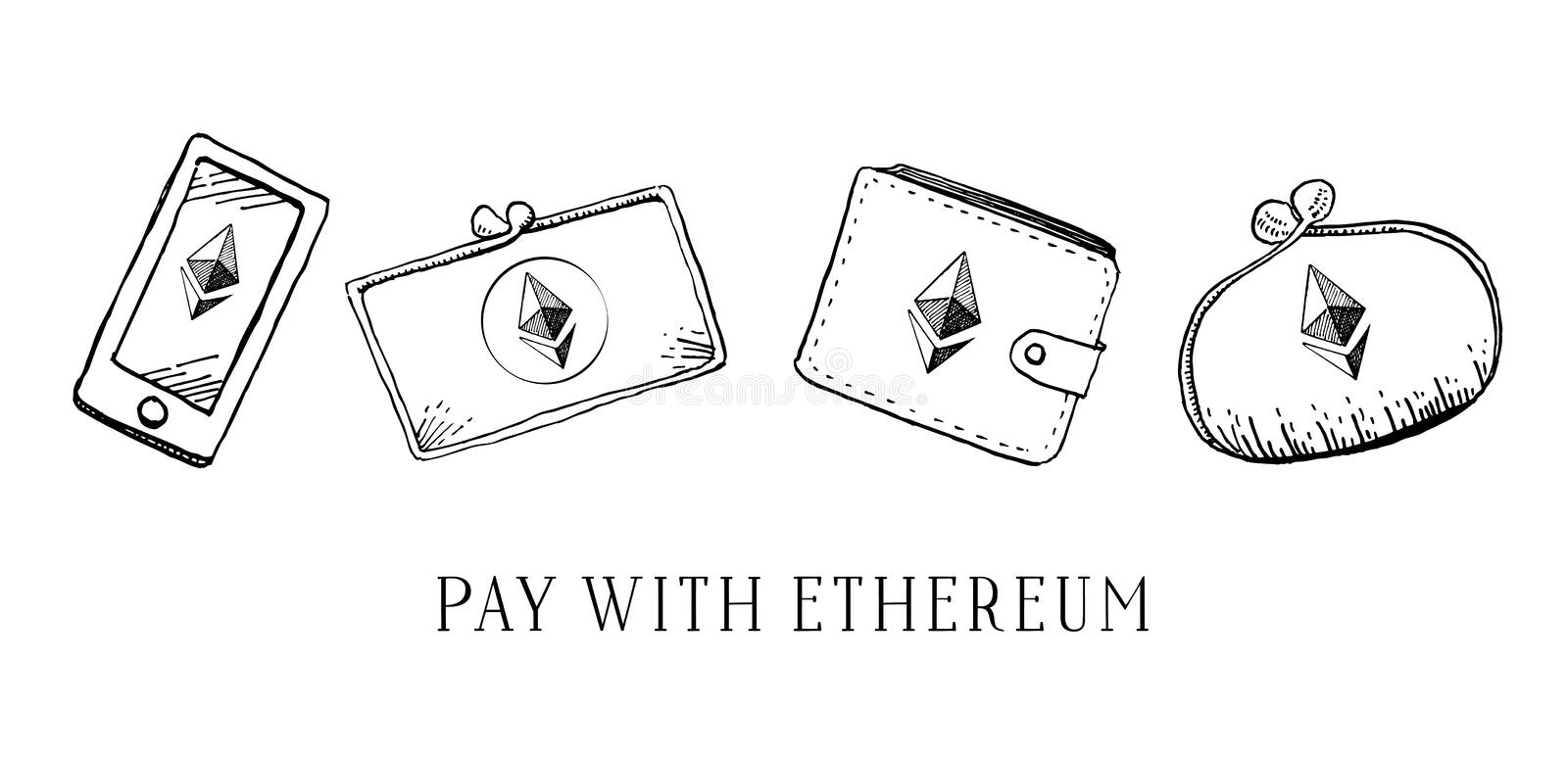 Hand drawn vector sketch cartoon doodle illustration set of different wallets and mobile phone with ethereum crypto currency logo stock photos