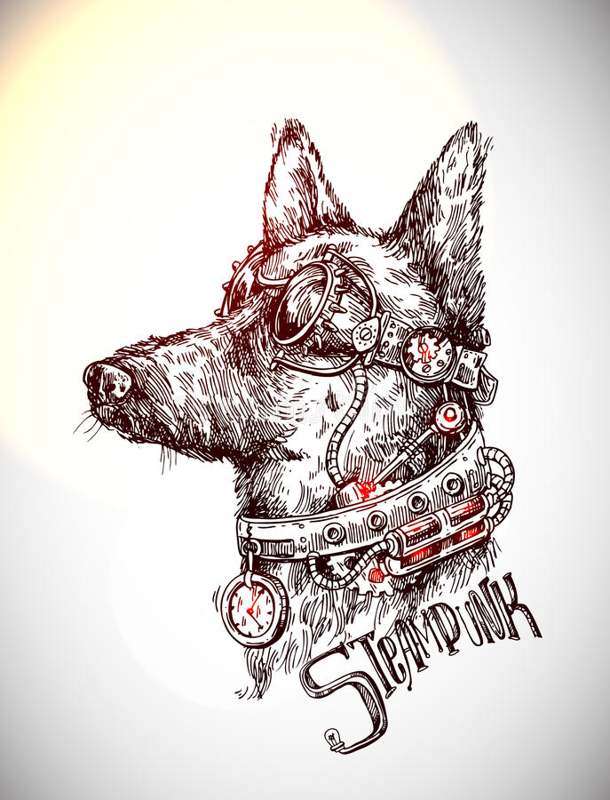 Hand Drawn Vector Sketch Of Dog Steampunk Style Illustration Stock
