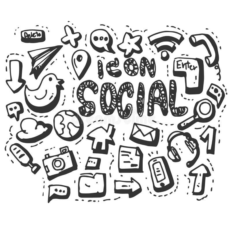 Hand Drawn Vector social media icons set isolated on white background. symbols royalty free illustration