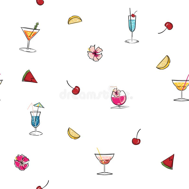 Hand drawn vector summer time organic fresh fruits seamless pattern with cocktail in glass bottle jar,watermelon,lemon slice and. Mint leaves in rose pink vector illustration