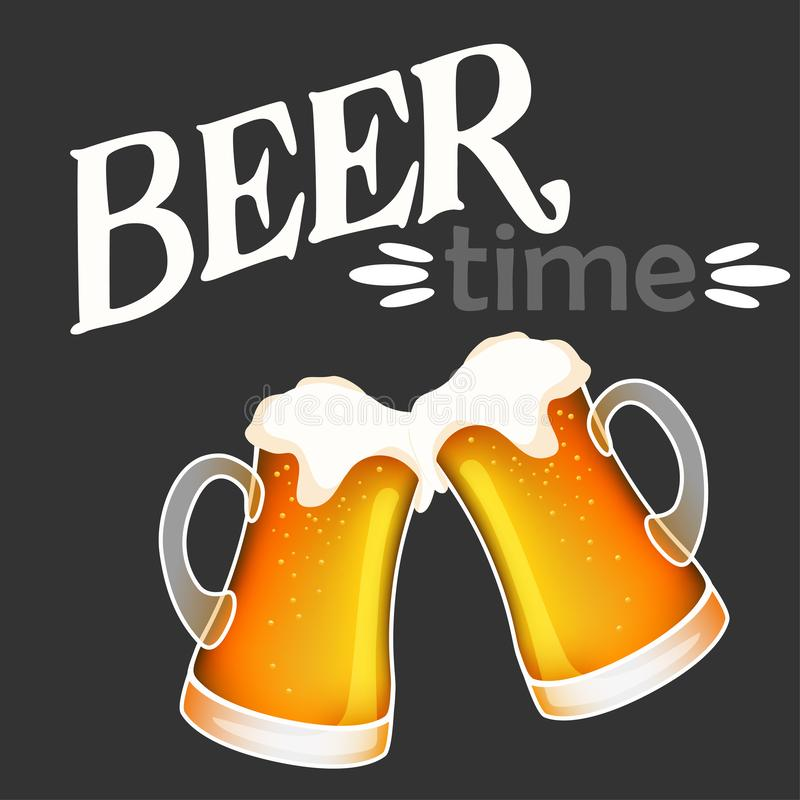 Hand drawn vector of two light beer mugs cheers and beer time. Lettering vector illustration