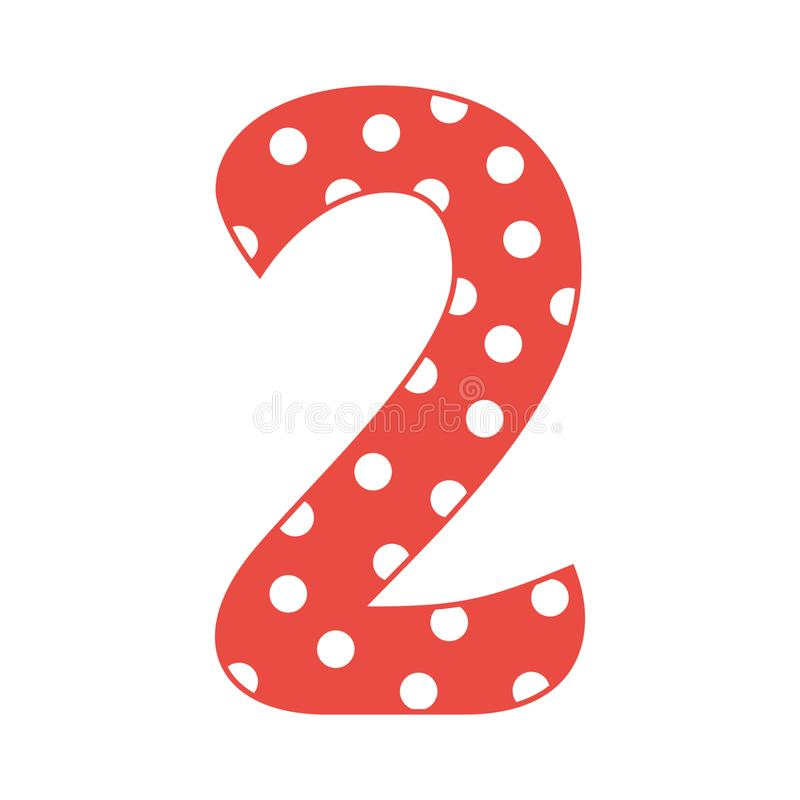 Hand drawn vector 2 two number with polka dots isolated on white background. Hand drawn vector 2 two number with polka dots. Vector illustration isolated on vector illustration