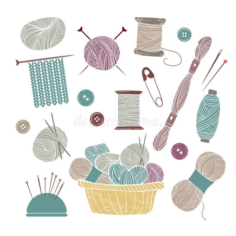 Vintage Knitting Clipart : Hand drawn vector vintage illustration set of knitting