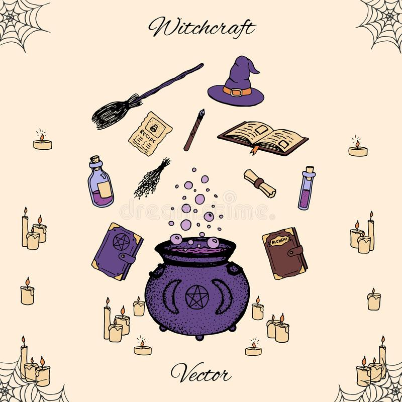 Hand drawn vector witchcraft set. Includes potions, herbs, books, witches hat and broom, candles, magic wand and cauldron vector illustration