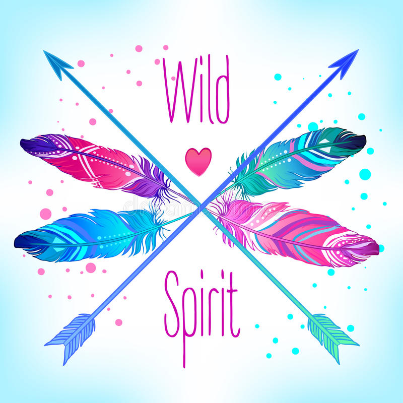 Hand drawn vector wreath with painted bird feathers and arrows i stock illustration