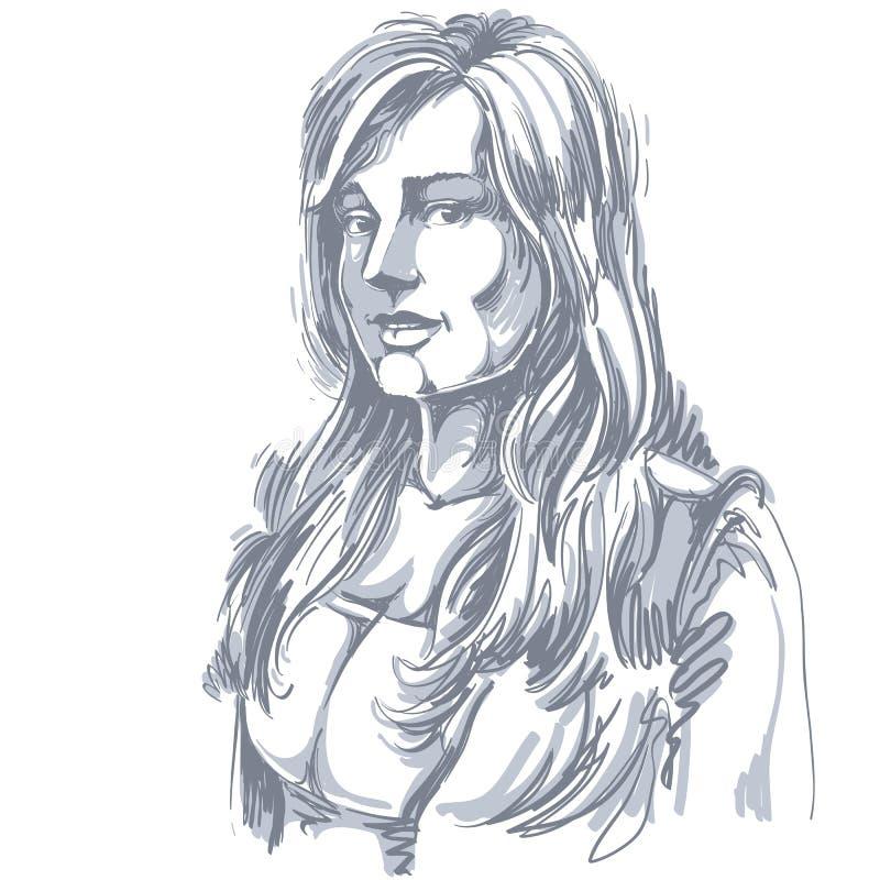 Hand-drawn vectorillustratie van mooie romantische vrouw mono stock illustratie