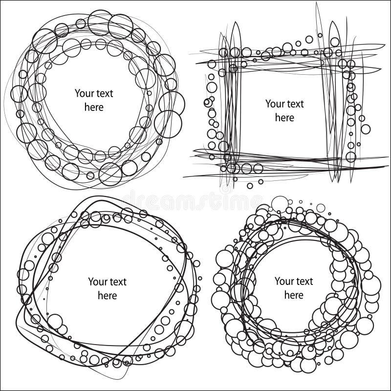 Hand-Drawn vectorkaders vector illustratie