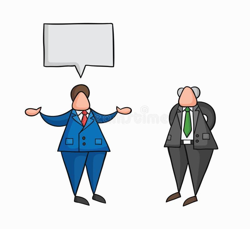 Hand-drawn vectorzakenmanarbeider die met zijn werkgever spreken stock illustratie