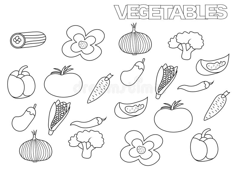 Hand drawn vegetables set. Coloring book page template. royalty free illustration