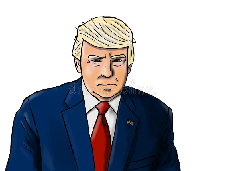 President Donald J Trump Drawing. A hand drawn version of President Trump`s official White House photo isolated on white vector illustration