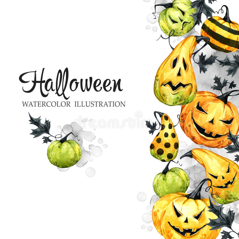 Hand drawn vertical banner with watercolor pumpkins and leaves. Halloween holiday illustration. Funny food. Magic stock illustration
