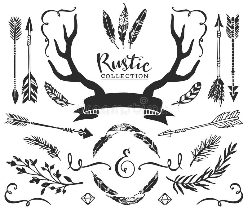 Hand drawn vintage antlers, feathers, arrows with lettering. Rustic decorative vector design set. stock illustration