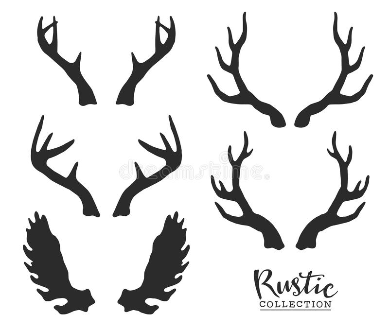 Hand drawn vintage antlers. Rustic decorative vector design. Elements royalty free illustration