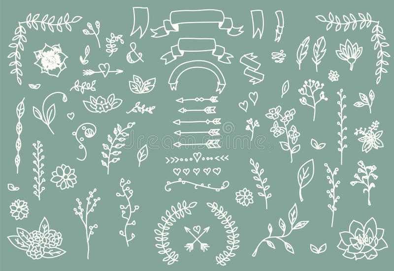 Hand drawn vintage arrows, feathers, dividers and floral elements royalty free illustration