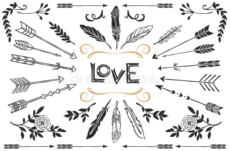 Hand drawn vintage arrows, feathers, and flowers with lettering. stock illustration