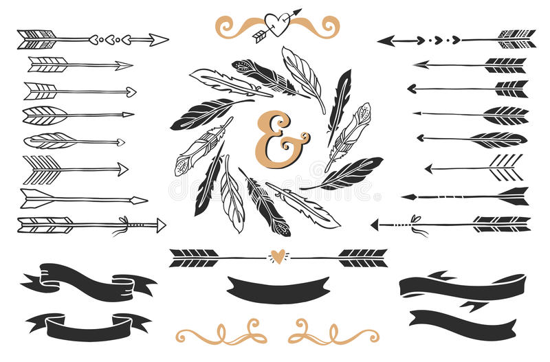 Hand drawn vintage arrows, feathers, and ribbons with lettering. vector illustration