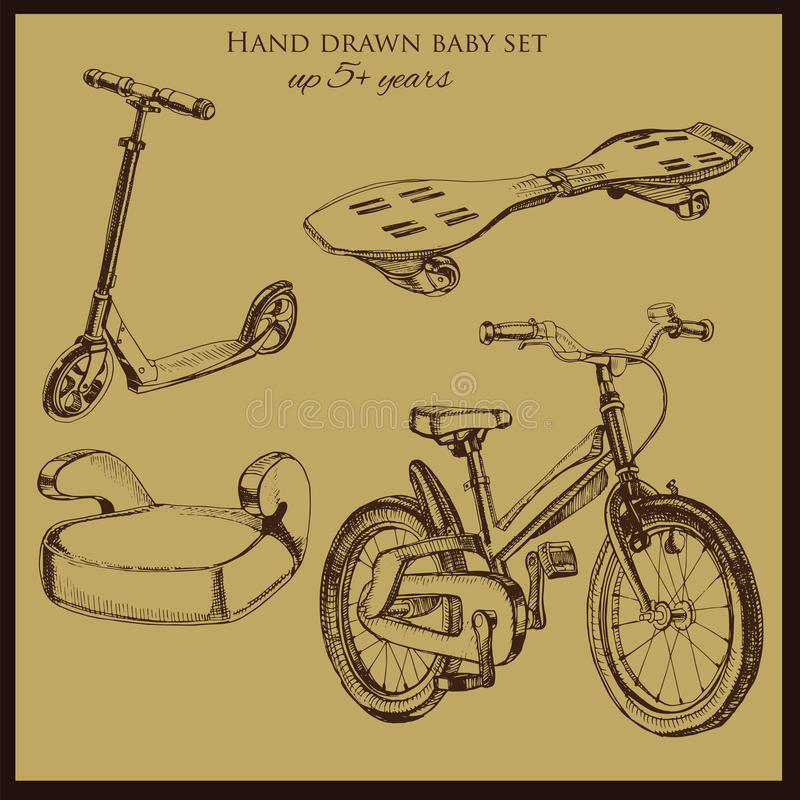 Hand drawn vintage baby transport. Vector illustration of hand drawn vintage baby transport include booster car, scooter, bicycle and wave board royalty free illustration