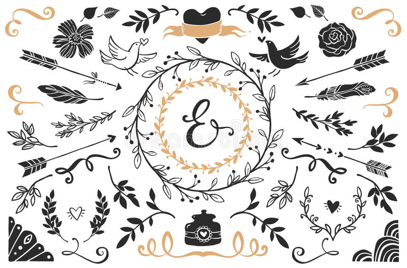 Hand drawn vintage decorative elements with lettering. stock illustration