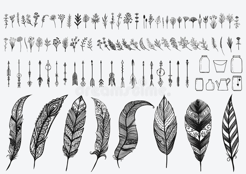 Hand drawn vintage design elements set including flowers,arrows,jars and zentangle feathers royalty free illustration