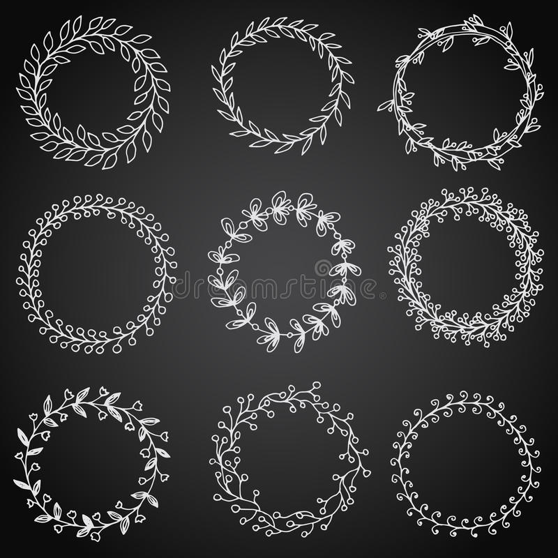 Free Hand-drawn Vintage Floral Wreath Set And Design Element. Royalty Free Stock Photography - 51914287