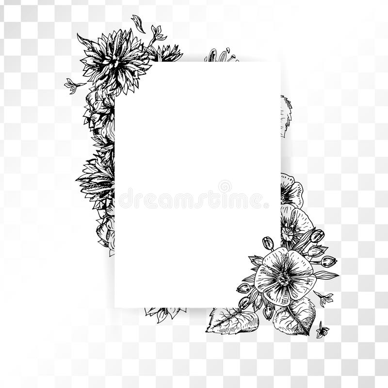 Hand Drawn Flower Frame On Transparent Background Retro Sketches Isolated Wedding Design Doodle Line Graphic Vector Vintage Black And White