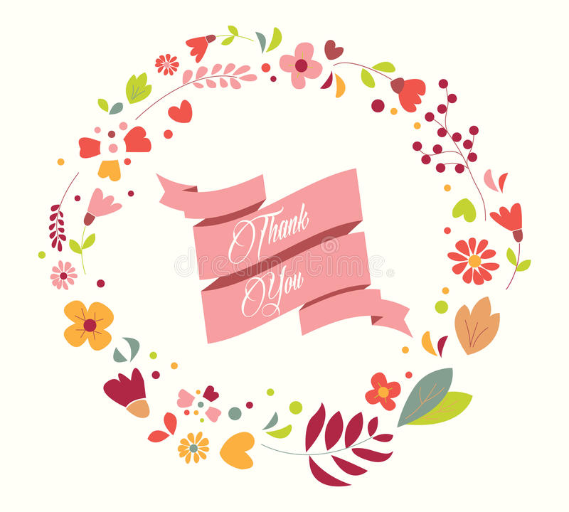 Hand drawn vintage flowers and floral elements for holidays stock illustration