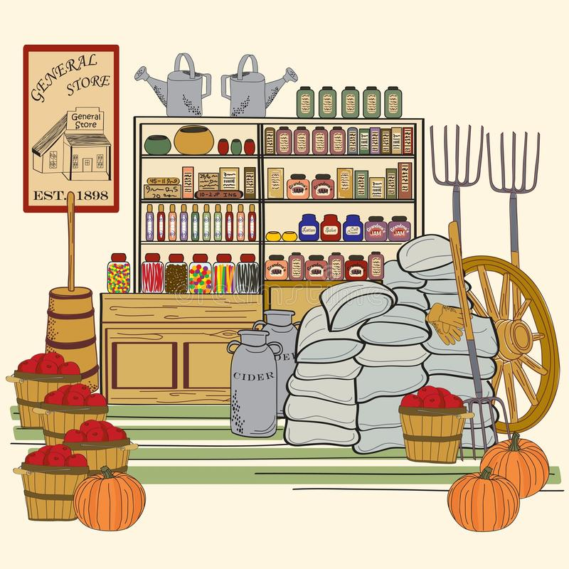 Hand Drawn Vintage General Store vector illustration