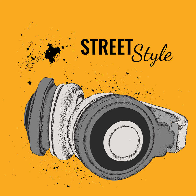 Hand-drawn vintage headphones. Sketch music. Vector illustratio royalty free illustration