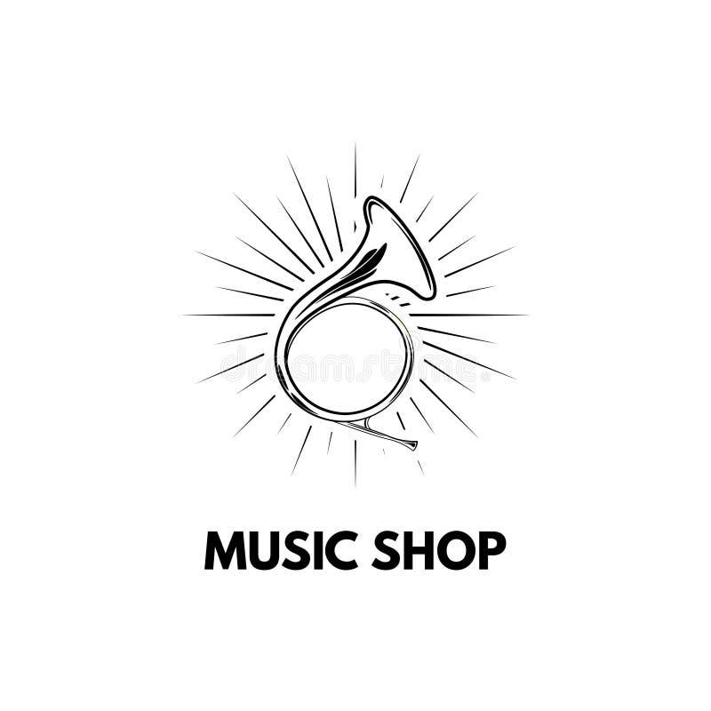Hand drawn vintage hunting horn. Music shop logo. Vector illustration. vector illustration